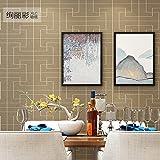 Moderna carta da parati cinese non tessuta soggiorno 3D TV sfondo carta da parati neoclassico stile cinese semplice griglia, caffè leggero, carta da parati solo