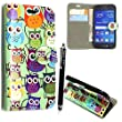 GSDSTYLEYOURMOBILE {TM} SAMSUNG GALAXY S3 S III I9300 PRINTED MAGNETIC FLIP PU LEATHER CASE COVER POUCH + SCREEN PROTECTOR + STYLUS (Design 01 Multi Owls Book)