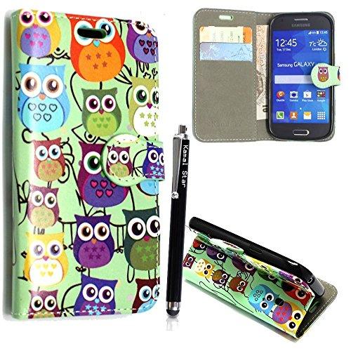 Samsung Galaxy S3 S3 neo i9300 i9301 Funda, Kamal Star® PU Leather Cuero con Tarjeta de Crédito Slots Funda Wallet Carcasa Cover + Stylus (Design 01 Multi Owl