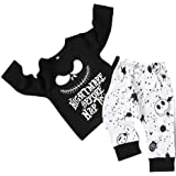 DaceStar 2PCs Outfits Newborn Toddler Baby Boy Girl Clothes Long Sleeve Letter Print T-Shirt + Skull Pants Nightmare Before P