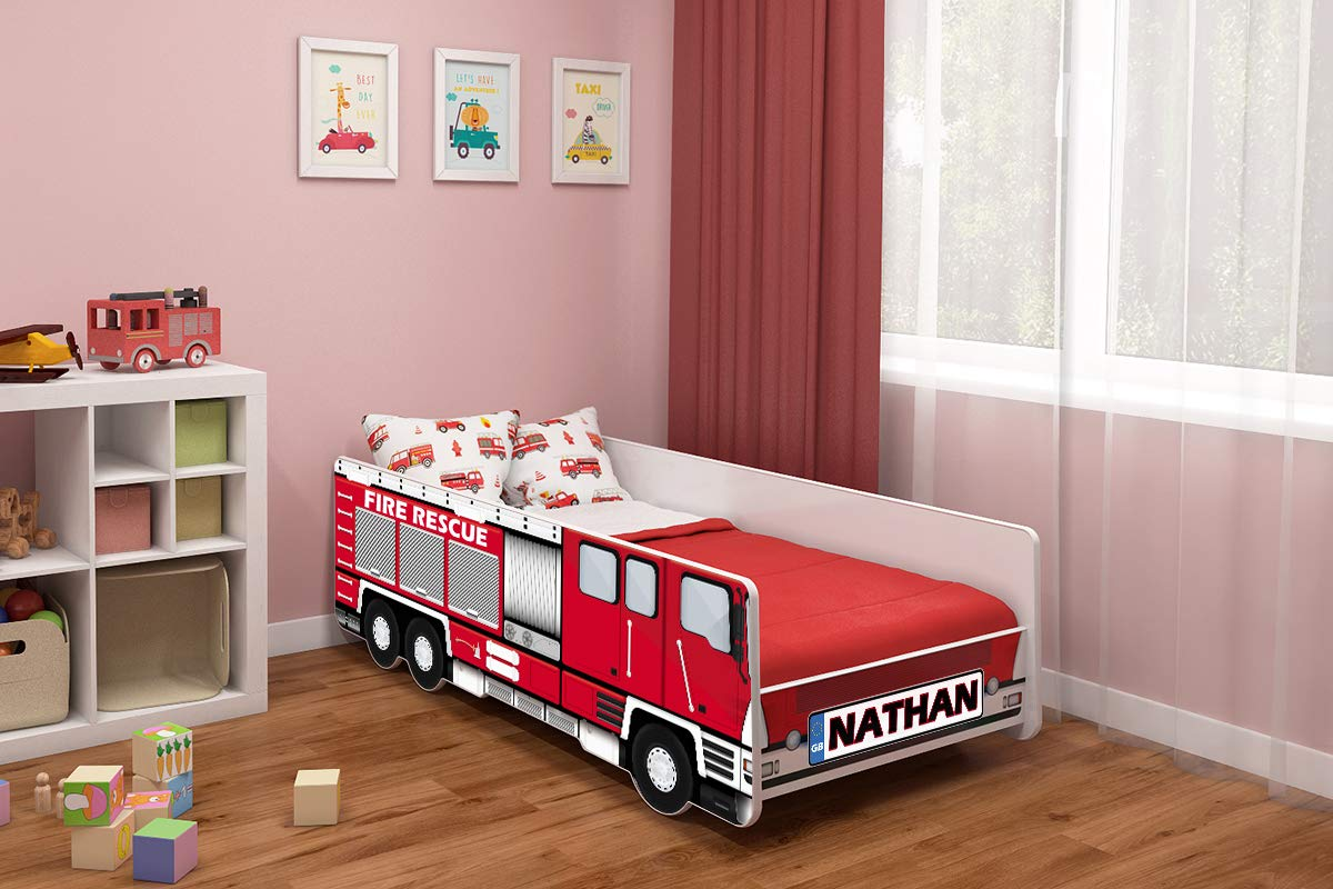 Toddler Children Kids Bed FIRE Truck + Mattress Bed Frame Rescue (140x70 + Name)  ACMA