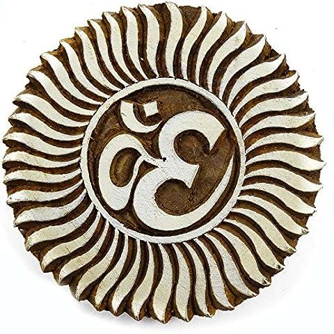 OM patrón tallado mano de impresión de madera de Brown Álbum de recortes textiles sello Bloque