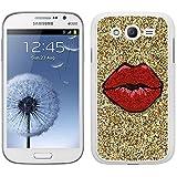 Funda carcasa para Samsung Galaxy Grand NEO Plus diseño labios rojos fondo efecto purpurina borde blanco