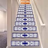 LLL LT003 DIY Entfernbar Treppenhaus Aufkleber Selbstklebend Wasserdicht Antiquität Blau Blumen Muster Wandgemälde
