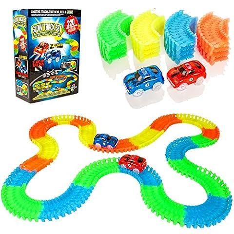 Create-A-Track-Plataforma-de-Carreras-Flexible-de-220-Piezas-y-Platina-de-2-Coches-Light-Up-Juguete-de-construccin-de-Autos-de-Carreras-para-nios-o-nias
