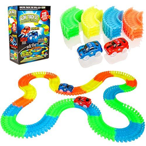Create-A-Track 220 Stück Flexible Rennstrecke & 2 Light Up Autos Spielset - Racing Cars BAU Spielzeug für Jungen oder Mädchen
