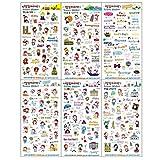 LAAT Aufkleber/Abziehbilder für Tagebuch, Kalender, Terminkalender, Fotoalben... 6 Blätter. 19*11cm Style 5