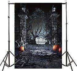 VEMOW Heißer Halloween Backdrops Kürbis Vinyl 3x5FT Laterne Hintergrund Blackout Fotografie Studio 90x150cm