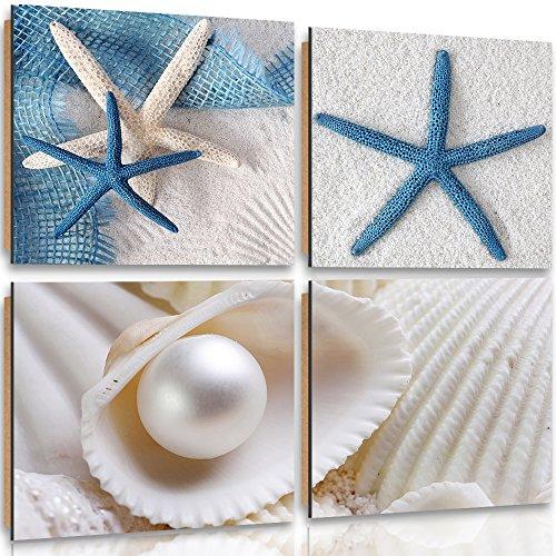 Feeby Frames, Cuadro de Pared - 4 Partes - Cuadro Decorativo, Cuadro Impreso, Deco Panel, 40x40cm, Playa, Conchas, Blanco