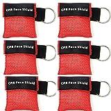 Beatmungsmaske,Lifesport 6 Stücke CPR Maske Schlüsselbund Ring Rescue Face Shields Emergency Kit Bea (Rot)