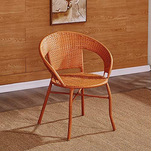 SEEKSUNG Stuhl, Haus Rattan Stuhl aus Schmiedeeisen, Indoor-und Outdoor-Freizeit Stuhl, Größe 45 *...
