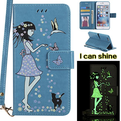 "IJIA Noctilucent Pur Rouge Fille Chat PU + TPU Doux Silicone Slot Flip Cuir Portefeuille Dragonne ID Credit Card fonction Case Cover Coque Housse Etui pour Apple iPhone 6S Plus / 6 Plus (5.5"") Blue"