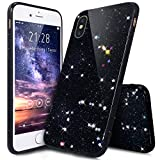 Kompatibel mit iPhone X Hülle,iPhone X Schutzhülle,Shiny Glänzend Bling Glitzer Sterne Pailletten Diamond Diamant Durchsichtig TPU Silikon Hülle Handyhülle Schutzhülle für iPhone X,Sterne:Schwarz