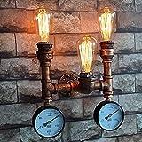 Pointhx Vintage Industrial Metall Wasser Rohr Wand Leuchte Steampunk Schmiedeeisen E27 3-Licht Wandleuchte für Bar Restaurant Küche Wohnzimmer Schlafzimmer