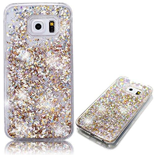 Samsung Galaxy S7 Edge Cover, Bonice Custodia Samsung Galaxy S7 Edge,Lusso 3D Bling Glitter Liquido Heart Pulire Hard Case - Bling Gold