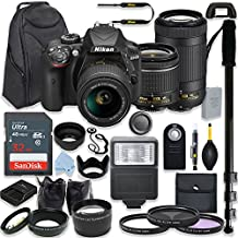 Nikon D3400 24.2 MP DSLR Camera (Black) Premium Kit With AF-P 18-55mm VR Lens & AF-P 70-300mm ED VR Lens + 32GB Memory + Filters + Macros + Deluxe Backpack + Professional Accessories