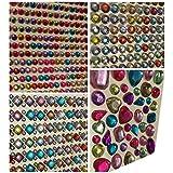 Juego de 1920abalorios Brillantes autoadhesivo redondo + rectangular cuadrado multicolor redondo + mediano en distintas formas Manualidades gltzer piedras joyas piedras brillantes cuadrado para decorar Crystal King