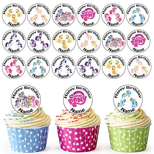 4 Personalisierte Vorgeschnittene Kreise - Essbare Cupcake Aufleger / Geburtstagskuchen Dekorationen (Red Sprinkles)