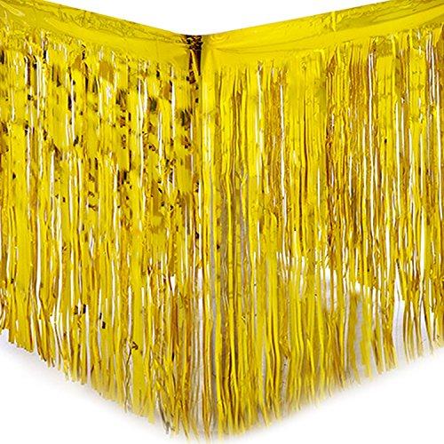 sing Tischrock Tisch Gold Silber Lametta Vorhänge Tisch Roecke Fadenvorhang Glittervorhang Party Hochzeit Dekoration Deko (Gold) ()