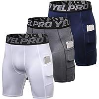 Lixada 3 pcs Hommes Compression Shorts Active Workout sous-Vêtements avec Poche Shorts Actifs pour Hommes pour la…