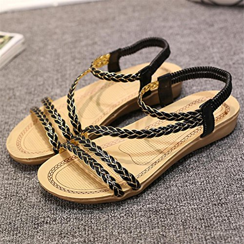 LHWY Damen Sandals Home Sandalen Beach Flat shoes Schwarz