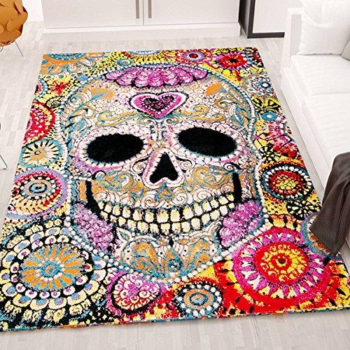 Alfombra juvenil muy artística de colores, motivo de calavera al estilo mexicano, Maße:160x230 cm