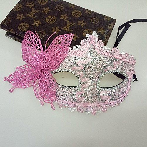 Tery Venezianische Prinzessin Maske Schmetterling Maske Kostüm Party Maske, Plastik, Rose, 25 * 12cm (Butterfly Pink Halloween-kostüm)
