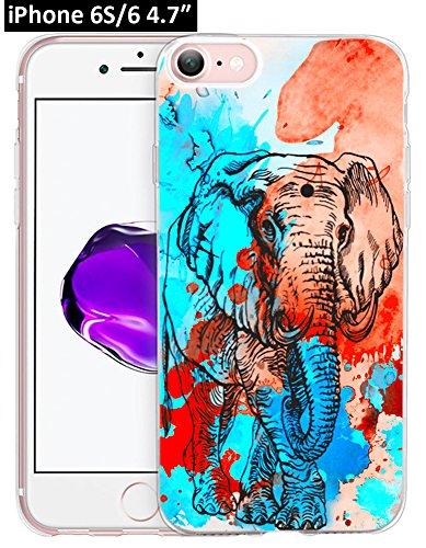 6S Hülle Pfau, Ecute Weiche Slim Flexible Deutlich, Gummi Seite + Stil Harte Rückseite Fall für iPhone 6S/für iPhone 611,9cm-Blau Peacock-Color Blumen, 6S/6-24