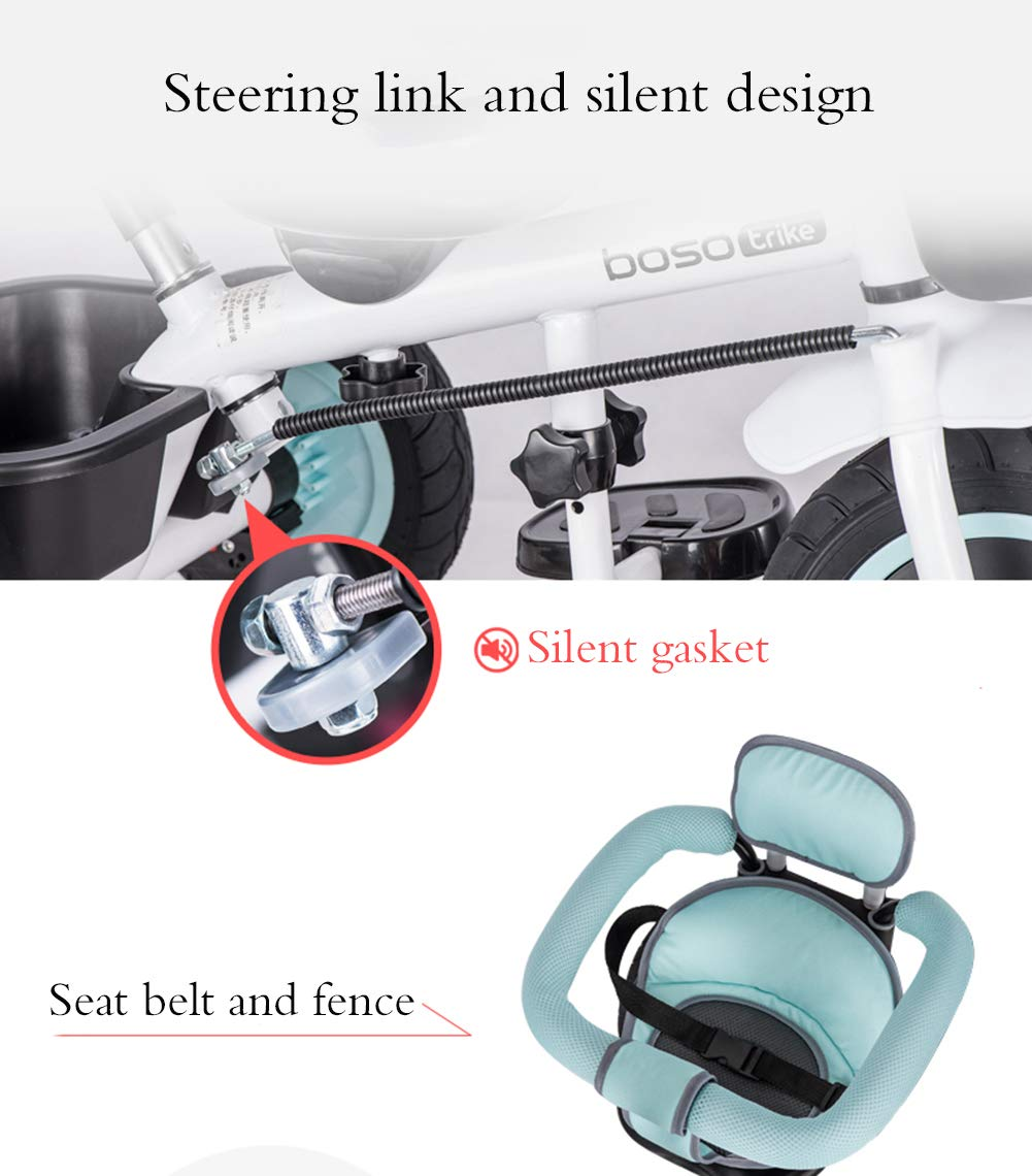 Children's Tricycle, Double-Sided Seat Stroller Adjustable Sun Visor Enlarged Storage Box Folding Pedal 3 to 6 Years Old Baby Indoor YYY ✅ 4-in-1 multi-function: two-way steering seat with push button unit. Push-pull, personalized putter multi-range adjustment putter to meet children of different heights, as the child grows, the tricycle can be adjusted to the fourth level. ✅ Durable material: This thrust tricycle is made of gem steel + environmentally friendly titanium empty wheel, with excellent strength, light resistance and anti-flaking adjustable awning. The tarpaulin material has a waterproof layer that blocks harmful ultraviolet rays, has a good sunscreen effect, and has mesh ventilation. ✅Safe design: The front wheel clutch has a two-stroke system. The steering linkage and quiet design effectively control the noise problems that may occur during implementation. Seat belt and guardrail and guardrail with double fixing pad 9