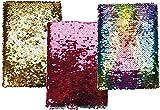Wende-Pailletten Notizbuch Tagebuch für Kinder und Erwachsene linierte Innenseiten, Pailletten auf Rückseite silber: VE: 6 sortiert, 4 Farben