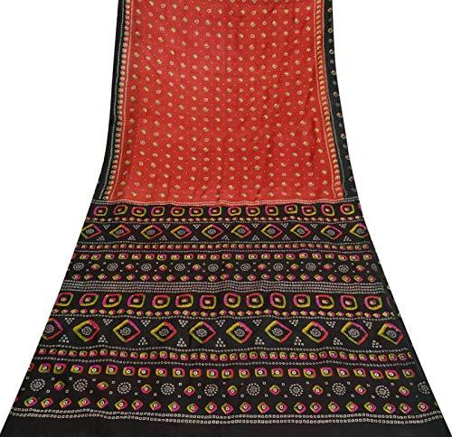 Sari Aus Reiner Seide (Vintage indische Sari Craft Stoff aus Reiner Seide Bandhani Printed Deco Red Saree 5YD)