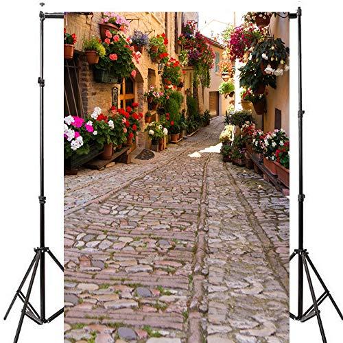 5x7ft Italy Reise Thema Fotografie Hintergrund Italienische Stadt Topf Blumen Dorf Gasse Hochzeit Foto Hintergründe Stein Pfad Mädchen Studio Foto Potrait Hintergrund Requisiten