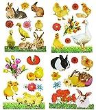 Geschenkidee Deko Ostern - Unbekannt 4 Set: XL Fensterbilder - Ostern Frühling - Hasen Küken Osterhasen Enten - statisch haftend - Sticker Fenstersticker Aufkleber selbstklebend wiederverwendbar
