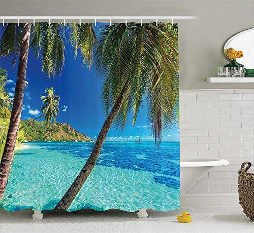 GAOFENFFR Ozean Duschvorhang Bild von Einer tropischen Insel mit den Palmen und Clear Sea Beach Thema Print Stoff Badezimmer Dekor Set mittürkisblau
