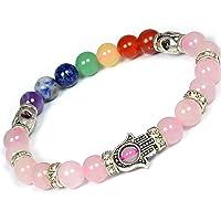 Reiki Crystal Products Crystal Rose Quartz Rose Quartz 7 Chakra Bracelet for Women(Multi Color)