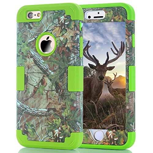 iPhone 6 Plus Coque, iPhone 6S Plus Coque, HKW (TM) 3 en 1 Armor Coque de protection hybride résistant Protection Extrême Coque bumper pour Apple iPhone 6/6S Plus (Arbre Vert + Noir) Green Tree+Green