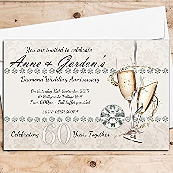 10 Personalised 60th Diamond Wedding Anniversary Invitations Invites