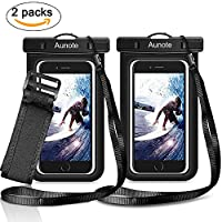 Waterproof Phone Case Aunote Universal Dry Bag Pouch With Lanyard Armband Men/Women Best carrying case For Apple iPhone 7 6 6s Plus 5s 5c Samsung Galaxy S8 S8 Plus S7 S6 Any Cell Phone Holder 2 Pack
