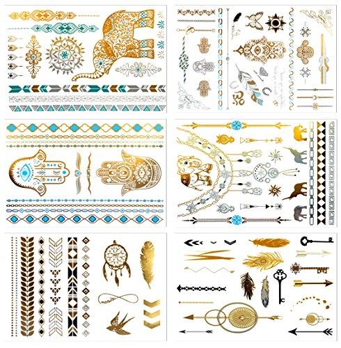 Metálico tatuajes temporales, prettydate 6hojas 75+ Henna diseños en oro plata negro, Fake Glitter joyería tattoos- pulseras, collares, muñeca, tobilleras y manguitos y # xFF08; Tribal colección y # xFF09;