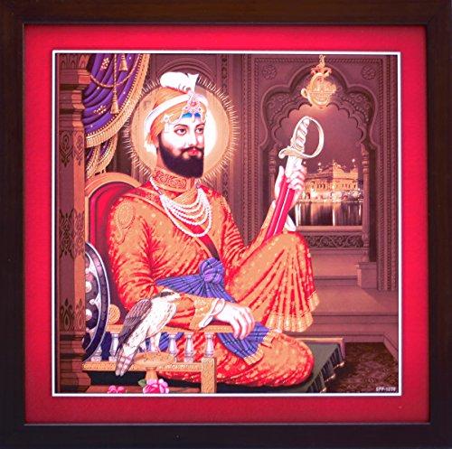 HandicraftStore Gobind Singh sitzend in Palace & Einem 35, Sikh Religiöse Poster mit Laminierung und Einrahmung für Home/Office/Geschenk und Sikh Religiösen Zweck (Er Letzte Krieger)