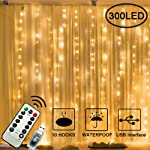 Gluckluz Window Curtain String Lights 300 LED Fairy Light USB Waterproof Decorative Twinkle Starry Lighting with Remote 8...