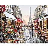 Shukqueen Gemälde zum Selbermalen, Malen-nach-Zahlen-Set für Erwachsene, Acrylgemälde, Motiv: romantische Straße in Paris mit Eiffelturm, 40,6 cm x 50,8 cm, Frameless,Just Canvas