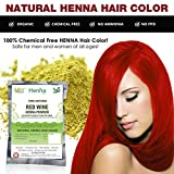 Red Wine Henna Hair Color – 100% Organic and Chemical Free Henna for Hair Color Hair Care - ( 240 Gram = 4 Packets ) Amazon