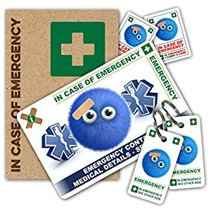 FUN DESIGN In Case of Emergency (I.C.E.) Card Pack with Key Rings & Stickers from ICEcard. Wallet size card with WRITABLE reverse to carry Emergency Contact & Medical / Medication Information. from ICEcard