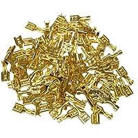 AERZETIX: Juego de 100 terminales hembra planos cable eléctrico en latón bruto 6.3mm C1364