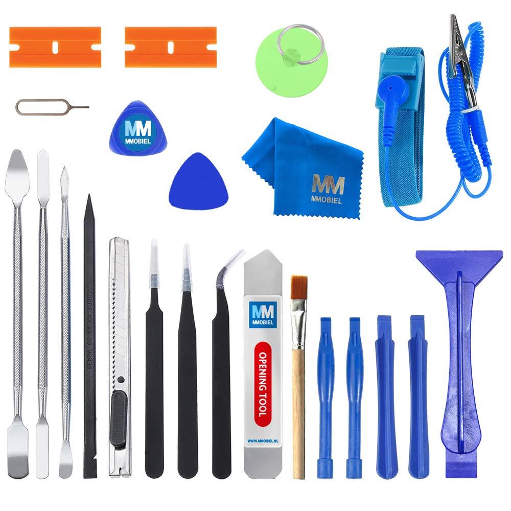 MMOBIEL Kit d'outils Professionnel 23 en 1 pour Ouverture et Réparation d'appareils électroniques (Smartphones, Tablettes, PC.) avec Bracelet Antistatique Inclus