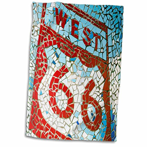 3dRose Joliet, Illinois, USA/Mosaic West Route 66 Sign Towel, White, 15 x 22-Inch