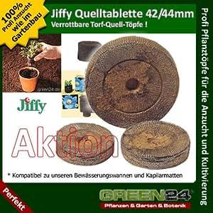 100 St. Jiffy® von GREEN24 Original Quell-Tabletten Torf-Quelltöpfe 44mm Aussaaterde Anzuchterde Torftablette mit Anleitung