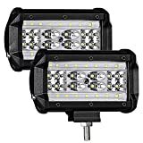 LTPAG 2pcs Foco Led Tractor, 5' 120W 12000LM Super Bright y Potentes Faros Trabajo Led Coches 6000K...