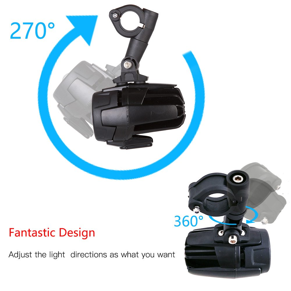Littou Led Auxiliary Lamp Motorcycle Fog Driving Light Kits With Wiring Harness Protector Motorbike Lights 40w 6000k Spot For R1200gs Adv Universal Motocycle 2pcs Mounting Bracket Guards